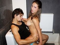 Hot young babe fucking in the restroom