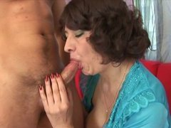 Old harlot makes out with young dude so gladly