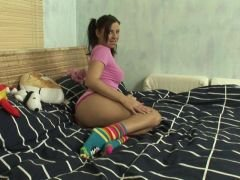 pigtailed brunette teen