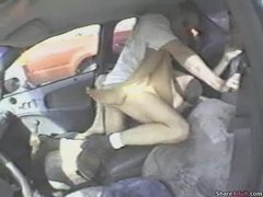 Hot outdoor sex threesome in car