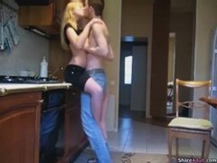Slender tall blonde kitchen blowjob