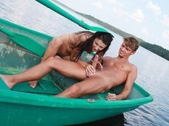 Naked girl fucked on the boat