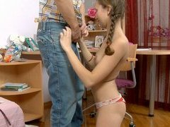 Bending over the schoolgirl for a good hard lesson in anal tryouts is what's require here