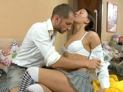 Insatiable whore fucks with her student at the private class.