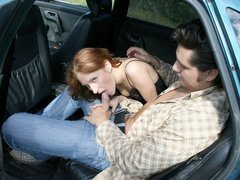 Crazy fuck for red haired teen in the open car
