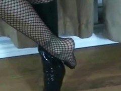 Black leather boot fetish