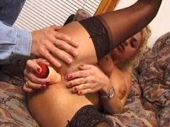 busty blonde wife in stockings